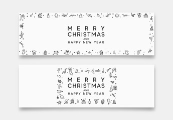 Merry Christmas and Happy New Year horizontal banner with xmas decorative elements line style