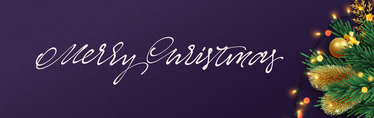 Christmas banner. Xmas festive objects of the composition. Horizontal christmas posters, cards, headers, website.