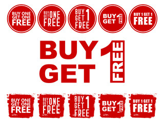 Red shop sign for a buy one get one free off clearance. Sale. Special offer. Set of sale banners
