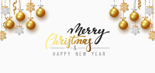 Merry Christmas and Happy New Year. Background design of xmas balls with golden glitter snowflake hanging on the ribbon.