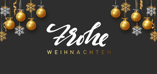 German text Frohe Weihnachten. Merry Christmas and Happy New Year. Background design of xmas balls with golden glitter snowflake hanging on the ribbon.