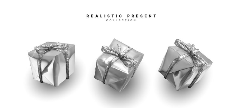 Silver gifts, box realistic isolated on white background. Set of decorative presents