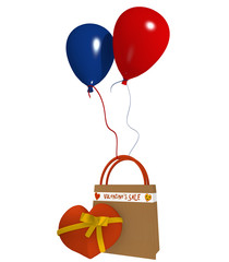 Einkaufstasche mit Luftballons und Herz zum Valentinstag