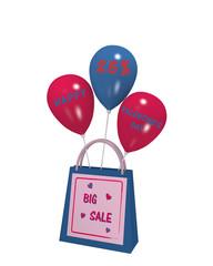 Einkaufstasche mit Luftballons und dem Text Big Sale und Frohen Valentinstag