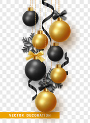 Christmas balls with ribbon and bow. Xmas decorative bauble realistic isolated on transparent background