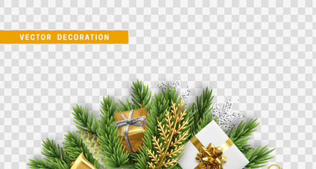 Christmas design. Composition with Xmas decorations. Christmas tree branches with cones, colorful realistic gift boxes. Vector isolated on transparent background.