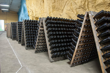 Champagne production in traditional way in a wine cellar