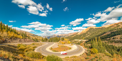 """SEPT 18, 2018 - ROUTE 550 SILVERTON, COLORADO, USA - """"Circular elevated view of Colorado State Highway 550, known as """"Million Dollar Highway"""" threads its way from Silverton to Ouray"""