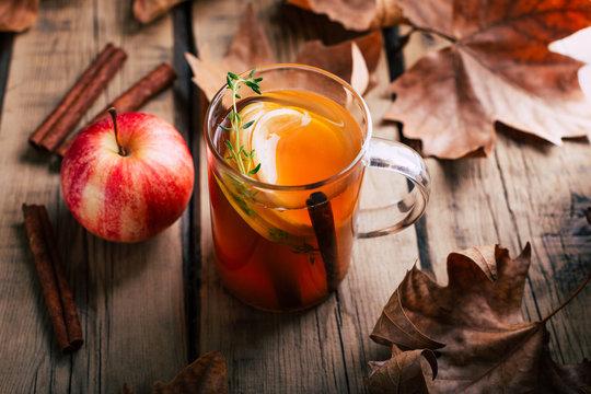 Apple tea, cinnamon sticks, wooden background, retro rustic style, autumn mood, fallen dry leaves