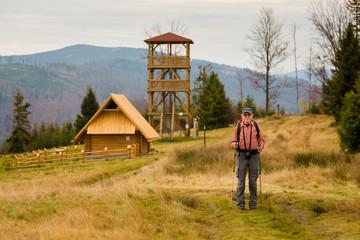 Tourist on mountain track Poland