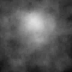 White fog and mist effect on black stage studio showcase room background.