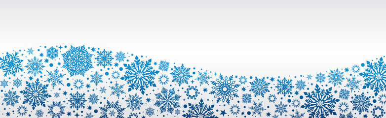 Christmas Vector snowflakes web banner White blue and silver background with silver snowflakes and copy space