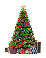 Christmas tree with gifts. 3d render isolate illustration. New Year, holiday.