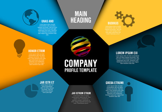 Infographic Layout with Geometric Sections