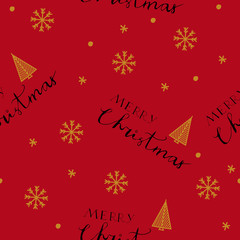 Merry Christmas seamless pattern with hand drawn lettering and snowflakes on the red background..