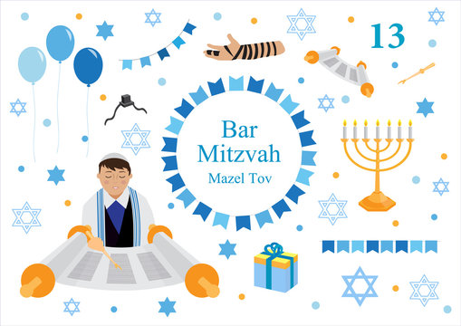 Bar mitzvah set of flat style icons. Collection of elements for congratulation or invitation card, banner, with Jewish boy, menorah, Star of David isolated on white background. vector illustration