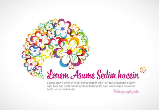 Web Banner Layout with Abstract Floral Illustrations