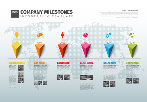 Infographic Layout with Multicolored Markers and Map