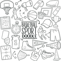 Basketball Sport Basket Traditional Doodle Icons Sketch Hand Made Design Vector