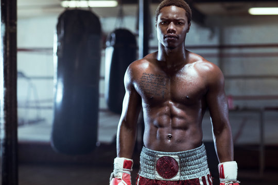 Portrait of male boxer in gym