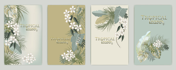 Vector tropical background set in olive green colors.