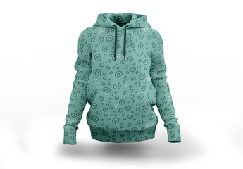 Patterned Hooded Sweatshirt Mockup