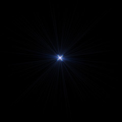Isolated realistic lens flare visual effect on black night background. Space star.