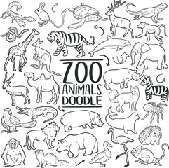 Zoo Wild Animals Traditional Doodle Icons Sketch Hand Made Design Vector