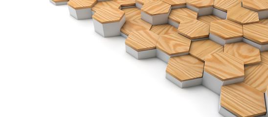 Geometric wooden hexagon pattern background. 3D rendering