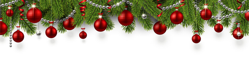 Christmas and New Year banner with fir branches and red Christmas balls.