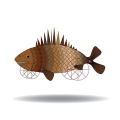 Fish, art,surrealism. Fish on wheels flying over the desert