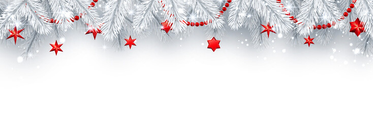 Christmas and New Year banner with white fir branches and red Christmas decorations.