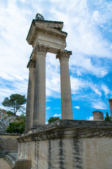 Temple ruins in the forum area of the Roman archaological site of Glanum near St. Remy De Provence, France