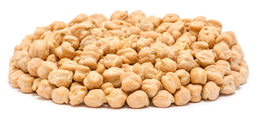Handful of chickpea seeds (Cicer arietinum) without shell, close up, isolated on white background