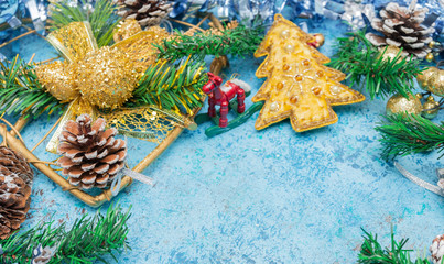 Christmas background with Christmas decoration. Toned image. Lots of copy space