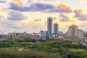 View on the city with skyscrapers from the dunes of Scheveningen a touristic and popular city near the beach in Holland
