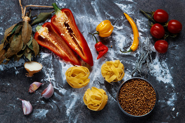 plate with pasta, pepper and spices