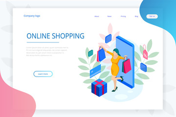 Landing page template of shopping online concept. E-commerce website shop by smartphone