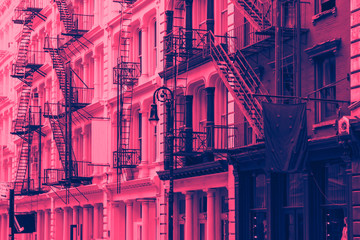 Buildings in SoHo New York City with pink and blue color overlay