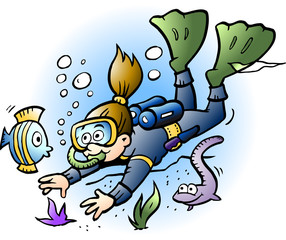 Vector Cartoon illustration of a Diver looking at colorful Fish