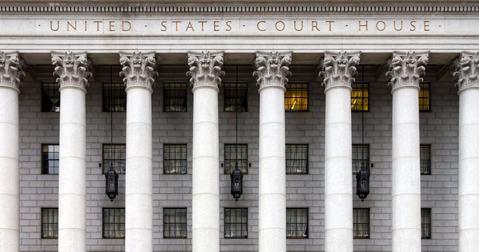 Entrance to the historic United States Court House in New York City