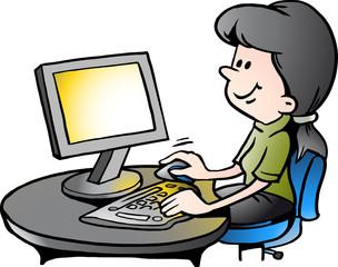 Vector Cartoon illustration of a Secretary at Work