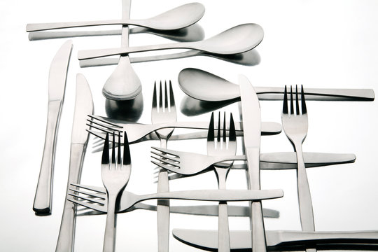 Forks and spoons on table