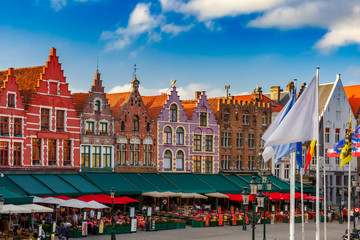 Wall Murals Bridges Typical Flemish colored houses on the Grote Markt or Market Square in the center of Bruges, Belgium