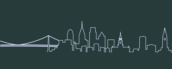 Philadelphia Single Line Skyline Wall mural
