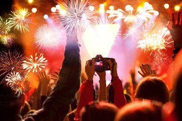 crowd watching fireworks - New Year celebrations