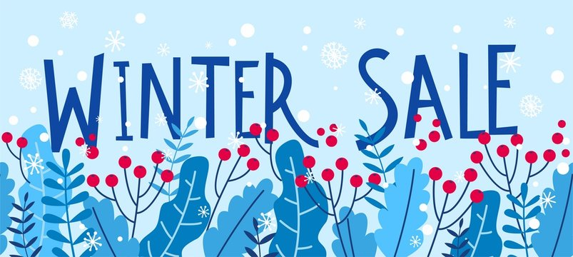 Winter sale banner with red berries for christmas and New Year design