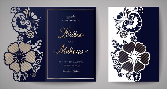 Wedding Floral Invitation. Template for laser cutting. Vector illustration.