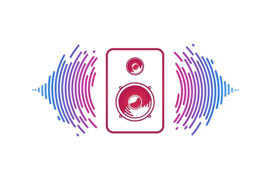 Red music speaker and loudsound waves isolated logo vector illustration. Logotype of sound power on white background