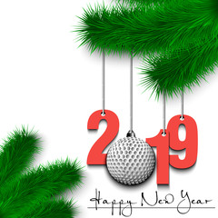 Golf ball and 2019 on a Christmas tree branch